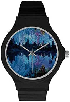 Natural Cave Decorations Utility Unisex Round Plastic Watch,Illuminated Reed Flute Cistern with Artifical Crystal Palace Myst Cave Image for Daily,Case Diameter : 37mm