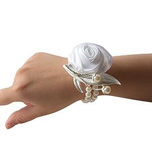 kangle Girl Hand Flowers Wedding Bridal Bridesmaid Wrist Flower Pearl Bracelet Corsage Decorative Flower for Bracelet Wedding Prom,Wedding Party 58