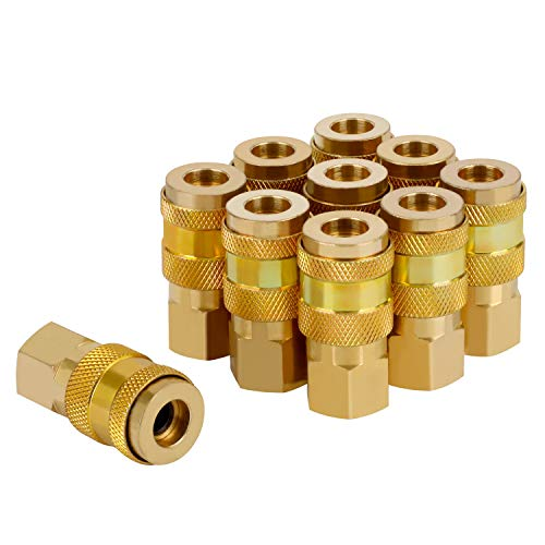 WYNNsky Air Tools Quick-Connect Fittings, 1/4''FNPT Universal Type Air Coupler, 10 Pieces Air Tools Accessories Fittings