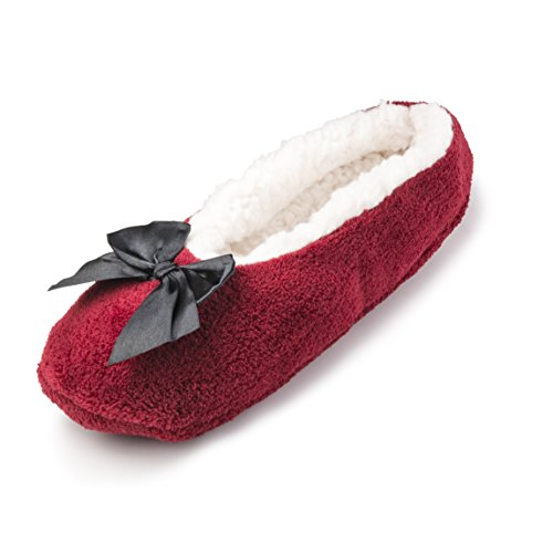 Indoor Sherpa for Fleece House Lining Comfortable Women Shoes Slippers w Fuzzy Maroon Ballerina nCqv4cawq