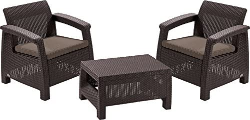 CURVER Allibert M283876 - Conjunto Ratan Resina corfu Balcony Set Marron: Amazon.es: Jardín