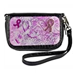 Cell Phone Case Wristlet- Black- Breast Cancer Luxury