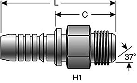 Male JIC 1//2 ID 1//2 ID 8GS-8MJ 37 degree Flare Gates 169-1000-0808 GlobalSpiral Series Couplings