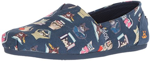 Skechers BOBS from Women's Bobs Plush-Studious Cats Ballet Flat, NVY, 9 M (Suede Cat Shoes)
