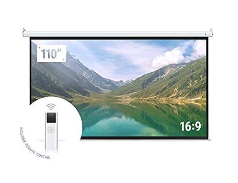 """Homegear 110"""" HD Motorized 16:9 Projector Screen W/ Remote Control (Projector With Projector Screen)"""