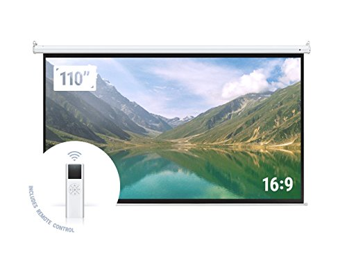 "(Homegear 110"" HD Motorized 16:9 Projector Screen W/ Remote Control)"