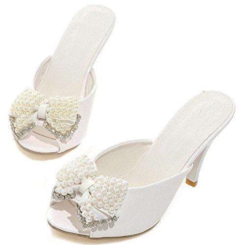 su Scivolare Mules Heels Zanpa Mode white Donne 1 Sandali CqTw6PX