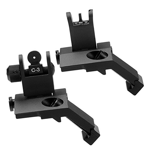 SOUFORCE New Tactial Front and Real Flip up 45 Degree Offset Rapid Transition Backup Iron Sight for AR15 by SOUFORCE