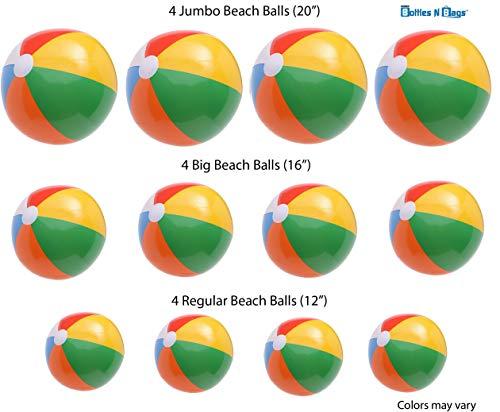 Bottles N Bags 12 Big Beach Balls, Jumbo 20