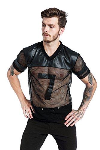 bdddfcbe9b F plus R Mens Novelty Character T-Shirt Fashion Faux Leather Mesh Stitching  Tees