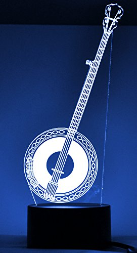 Banjo 3D LED Lamp Optical Illusion Light (7 Color Changing, USB Cable). A great gift for musicians!