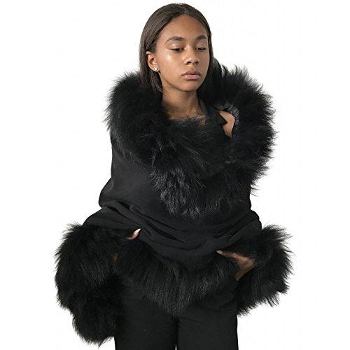 Palantines Cape cashmere Natural fox fur trim