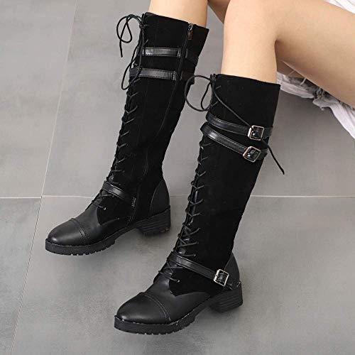 UK 5 da Marrone Nero Thign Tactical Nero Marrone Stivali Heel 5 Equitazione Knee 8b54bd