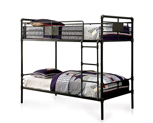HOMES: Inside + Out IDF-BK913QQ Xondro Bunk Childrens Bed Frames, Queen/Queen, Antique Black