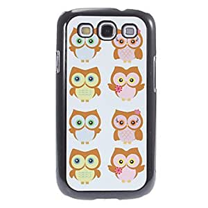 PEACH Eight Cartoon Owls Pattern Aluminum&Plastic Hard Back Case Cover for Samsung Galaxy S3 I9300