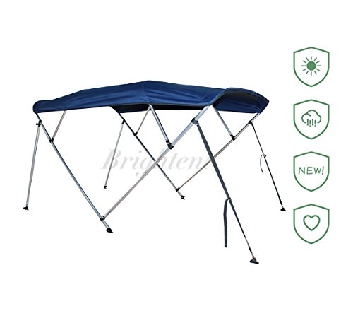 Brightent Navy Blue Bimini Top 6 Different Size 3-4 Bow Boat Canopy Cover with Free Support Poles and Towel Clips (4 Bow L8'/W85