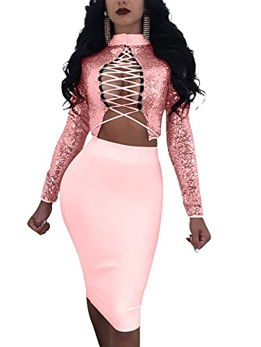 TOB Women's Sexy Elegant Squins Lace Up Long Sleeve Party 2 Piece dress - Ladies Piece Dress 2