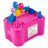 METRONIC Bomba de globo de aire eléctrica, portátil de doble boquilla, máquina de Globos de color rojo rosa, 110 V 600 W, bomba de globo eléctrica, inflador de globo eléctrico para decoración/amigo/fiesta arco y soporte de columna