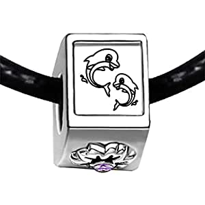 Chicforest Silver Plated Two Cute Jump Dolphin Photo Light Amethyst Crystal June Birthstone Flower Charm Beads Fits Pandora Bracelet
