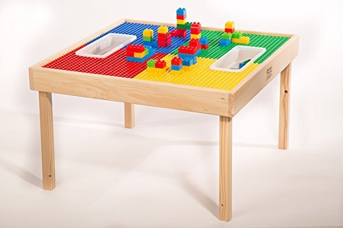 Lego & Duplo Compatible Table & Play Cover w/Built-in Storage(Patent)-4 Tables in 1 Value-Made in America-Solid Wood Legs & Frame-Preassembled-Ages 1 to 15 -