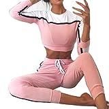 2Pcs Women's Long Sleeve Sports Suit Tracksuit Sweatshirt Sets Casual Sportwear Blouse + Pants