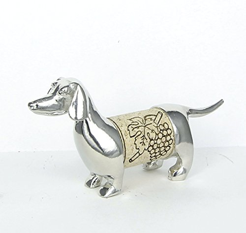 Dachshund Wine Cork Sculpture - Changeable Cork Display - Gift Boxed, Story Card- Handcrafted Pewter Made in USA Anniversary Wine Art