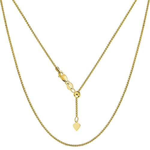 - 10k Yellow Gold Adjustable Wheat Link Chain Necklace, 1.0mm, 22