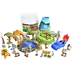 Sunny Days Entertainment Maxx Action Outdoor Adventure Toy Camping and Hunting Figures with Tents, Camping Gear, Vehicles, Fishing Boat, Park Bench, Hiking Trails and Storage Container