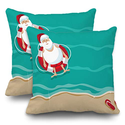 Batmerry Set of 2 Merry Christmas Decorative Pillow Covers 18x18 inch,Santa Beach Stock Christmas Tropical Flip Flops Funny Double Sided Throw Pillow Covers Sofa Cushion Cover ()