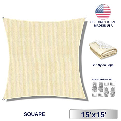 Windscreen4less 15 x 15 Sun Shade Sail UV Block Fabric Canopy in Beige Sand Square for Patio Garden Customized Size Free Pad Eyes 3 Year Limited Warranty