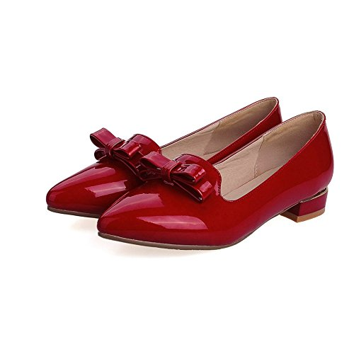 AdeeSu Urethane Loafers Red No Shoes Womens Urethane Closure SDC03717 Heels Casual Chunky RqRrY
