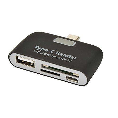 Innolage USB3.1 Type C Hub Beautiful Portable Mini USB OTG Adapter with LED USB C Hub USB SD TF Micro USB OTG Hub Adapter (Black)
