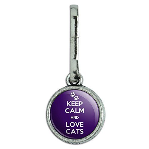 (Antiqued Charm Clothes Purse Luggage Backpack Zipper Pull Keep Calm and H-O - Love Cats Paw Prints - Keep Calm and)