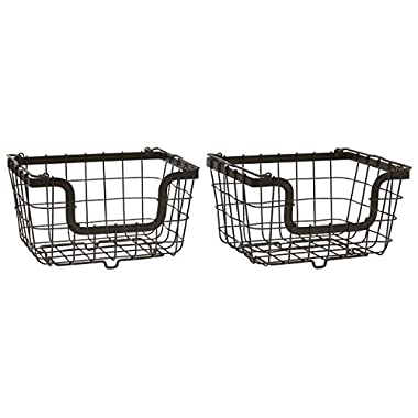 Gourmet Basics by Mikasa General Store Stacking/Nesting Metal Basket, Set of 2, Antique Black