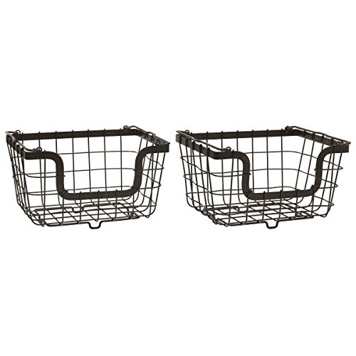 (Gourmet Basics by Mikasa General Store Stacking/Nesting Metal Basket, Set of 2, Antique Black)