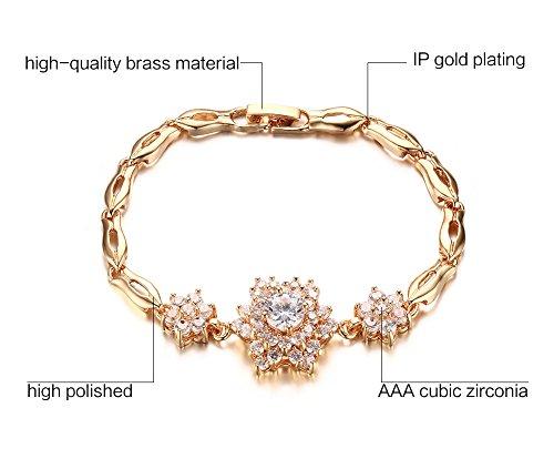 Vnox 18k plaqué or Flower White Gemstone Bracelet Elégant Tennis Pour les femmes de bijoux de fiançailles