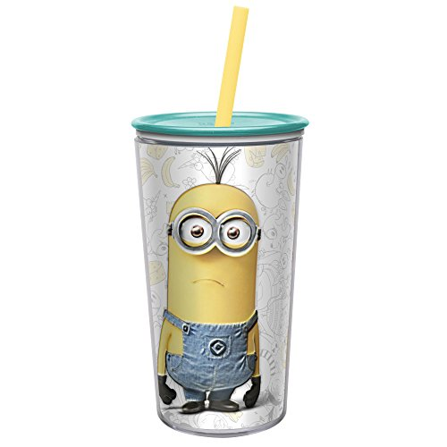 Zak! Designs Insulated Tumbler, Despicable Me 3 Minions, Screw-on Lid with Straw, Double Wall Construction, BPA-free and Break-resistant, 10.5 oz