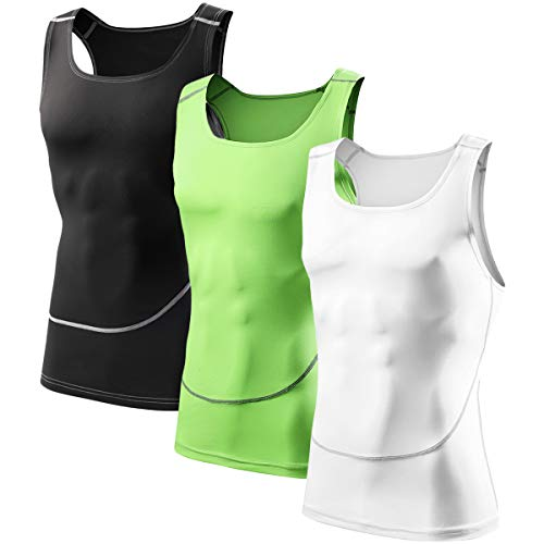 - Men's 3 Pack Compression Athletic Tank Top, Base Layer Sport Dry Fit Tank Top Black/White/Green L