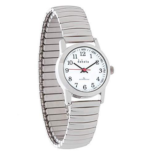 Dakota Ladies Easy Read EL Moonglow Stainless Steel Expansion Band Water Resistant Watch (Silver, 27081) (Dakota Watch Bands)