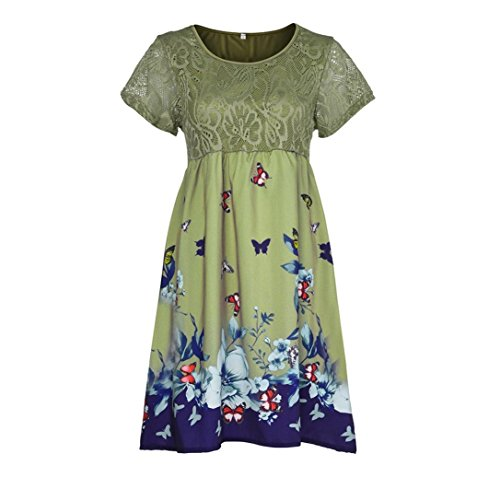 BODOAO Women Plus Size Dresses Floral Printed Short Sleeve Lace Stitching Loose Beach Dresses -