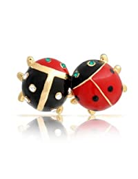 Bling Jewelry Gold Plated Enamel Insect Bug Crystal Ladybug Brooch Pin