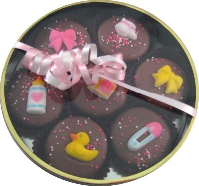 Chocolate Dipped Oreo Cookies Girl Baby Theme / Shower 7 Oreos