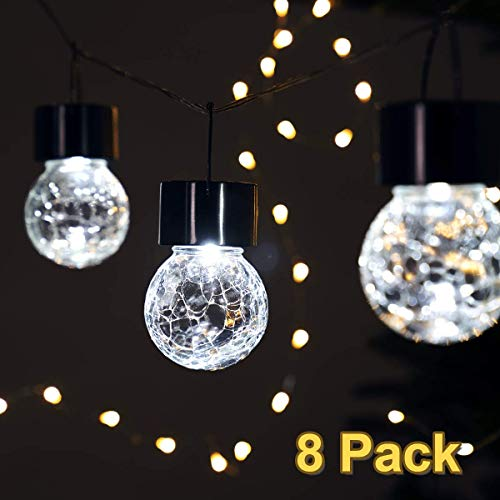 GIGALUMI 8 Pack Hanging Solar Lights Christmas Yard Decoration, Crackle Glass Decorative Outdoor Globe Lights, Waterproof Solar Lanterns with Handle for Garden, Yard, Patio, Lawn (Tips Lights Christmas Hanging)
