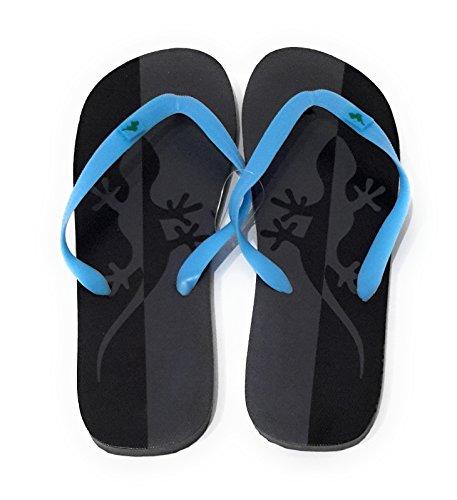 Chanclas de Hombre para la Ducha, Piscina y Playa en Verano, Varios Modelos y Colores Salamandra Gris Negra, Correa Azul