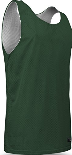 Men's Tank Top Jersey-Uniform is Reversible to White-Great for Basketball, Football, Soccer, Lacrosse, and Practices-Colors available in Black, Green, Royal, Red, Navy and More-Sizes SM-XXXL (Large, Forest/White)
