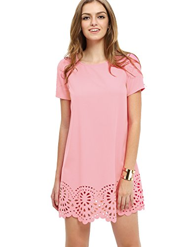 SheIn Women's Crew Neck Short Sleeve Hollow Shift Dress Large Light Pink