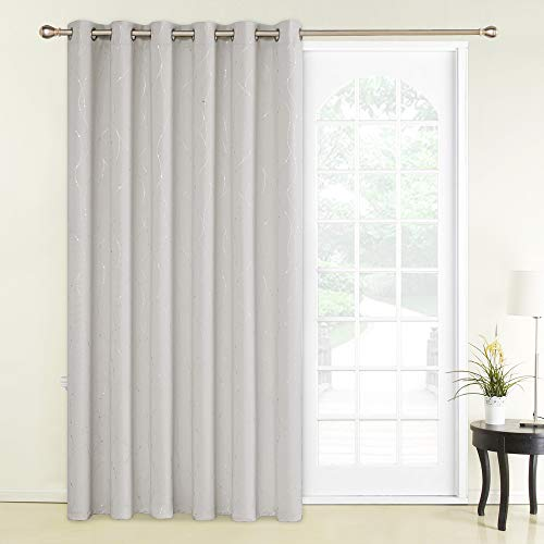 Deconovo Blackout Curtains Wide Width Curtain Room Darkening Shades Wave Line with Dots Foil Printed Thermal Insulated Energy Saving Curtain for Kids Bedroom 80 x 84 Inch Cream 1 Panel