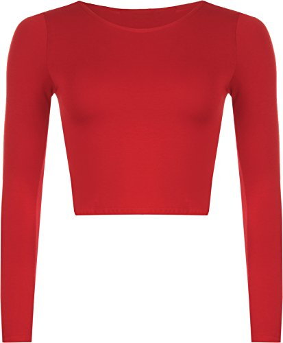 WearAll Women's Crop Long Sleeve Ladies Plain T-Shirt Top - Red - US 4-6 (UK 8-10)