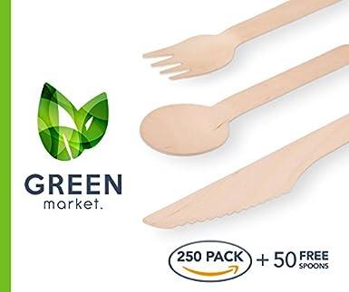 Amazon.com: Mercado cubertería de madera verde 300 CT ...