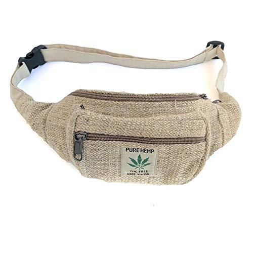 - SUVASANA Handmade Hemp Fanny Pack Waist Hip Bag Handmade From Pure Hemp Boho bag Hippie bag(Vintage)